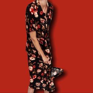 Zara black floral maxi dress